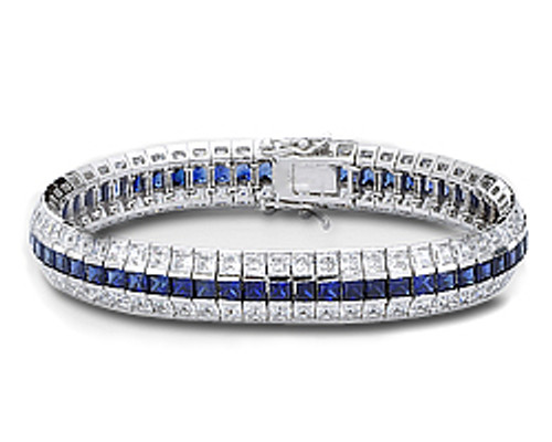 Adrianna Three Row Channel Set Princess Cut CZ Bracelet