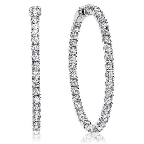 Juno Vault Lock Inside Out Rounds CZ Earring Hoops, 7.0 Carats Total
