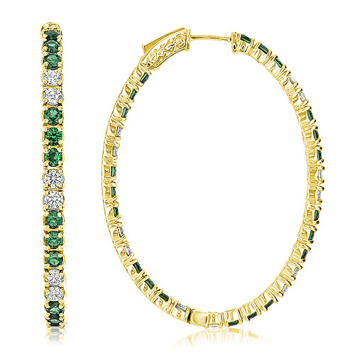 Solana Vault Lock Front Facing CZ & Emerald Oval Shaped Hoops, 6.0 Carats Total