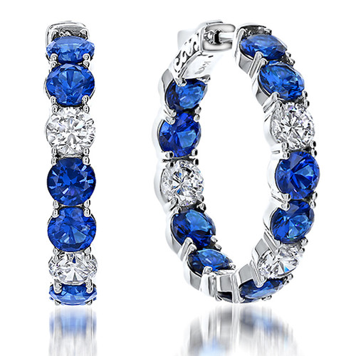 Bellamy Vault Lock Inside Out Rounds Sapphire & CZ Hoops, 13.0 Carats Total