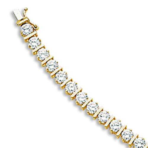SALE - Bar Link with CZ Rounds Tennis Bracelet, 8.5 Carat Total Weight