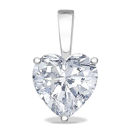 Allure Heart Cubic Zirconia Solid Bail Solitaire Pendant