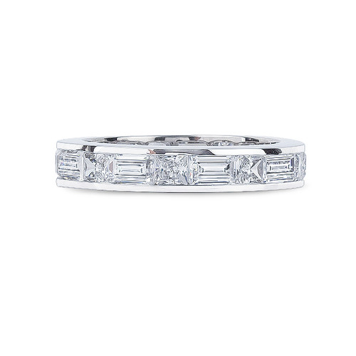Sale June Emerald Cut & Princess Cut Channel Set CZ Eternity Band in White Gold