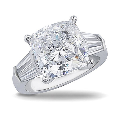 4.0 Carat Cushion Cut Double Baguette CZ Solitaire Engagement Ring