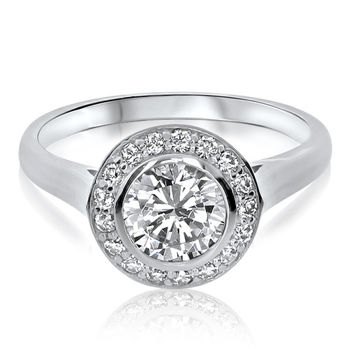 Kaye Bezel Set Round with Channel Halo Engagement Ring