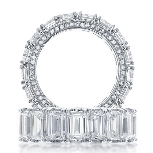 Genevieve Emerald Cut with Rounds CZ Eternity Band