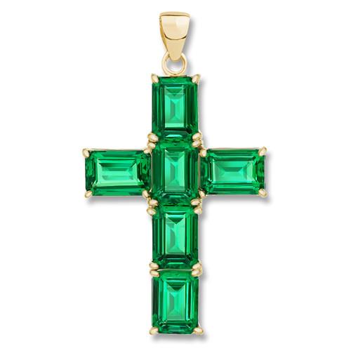 Epiphany Simulated Green Emerald Cut Cross Pendant