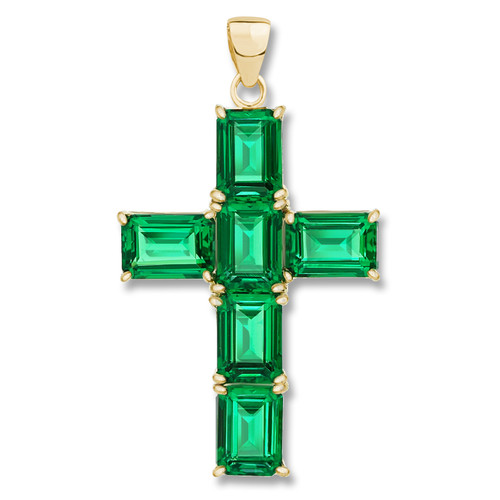 Epiphany Simulated Green Emerald Cut Cross Pendant
