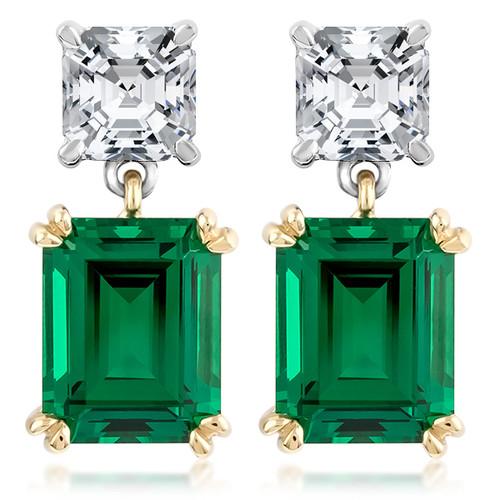 Brasilia Asscher Top Emerald Cut Drop Earrings