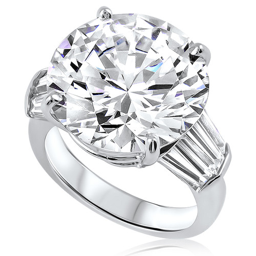 Round with Triple Baguettes Solitaire Engagement Ring