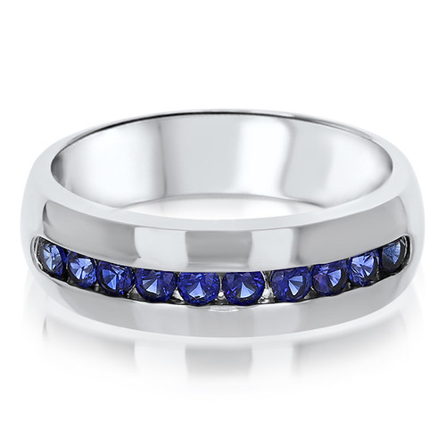 Liam Wide Band Men's Round Channel Ring, 0.6 Ct TW