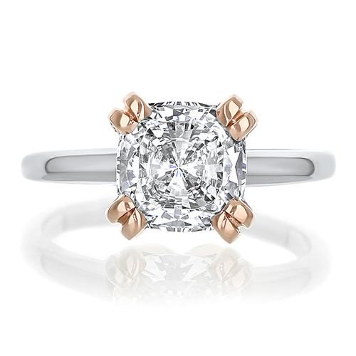 Caroline Split Prong Cushion CZ Classic Solitaire Engagement Ring