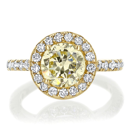 Brenina Round Color Gemstone Halo Solitaire Engagement Ring