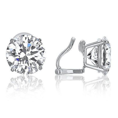 Basket Set Round CZ Stud Earrings with Non Pierced Omega Style Clip