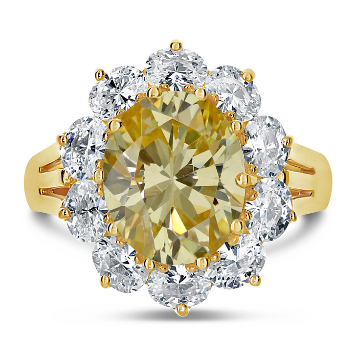 Olivia 3.5 Carat Oval with Ovals Cubic Zirconia Halo Cluster Ring