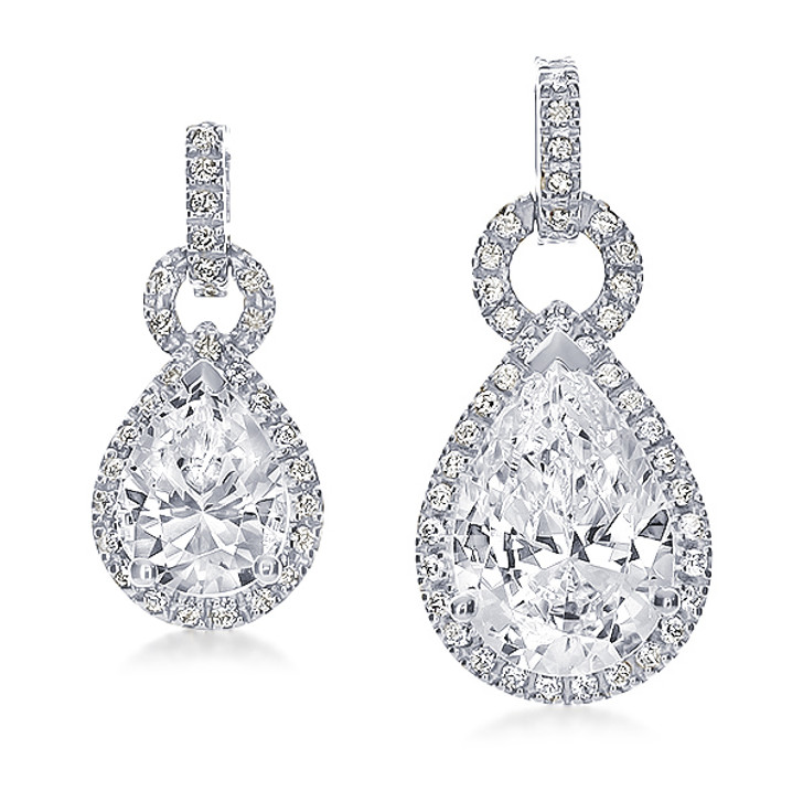 Portia CZ Pear with Halo of Pave Rounds Pendant