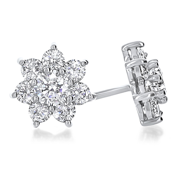 Abby Round Flower Cluster Cubic Zirconia Earrings, 1.0 Carat Total
