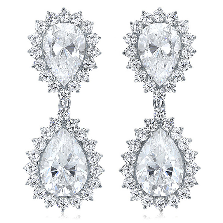 London Pears with Rounds Cubic Zirconia Halo Drop Earrings