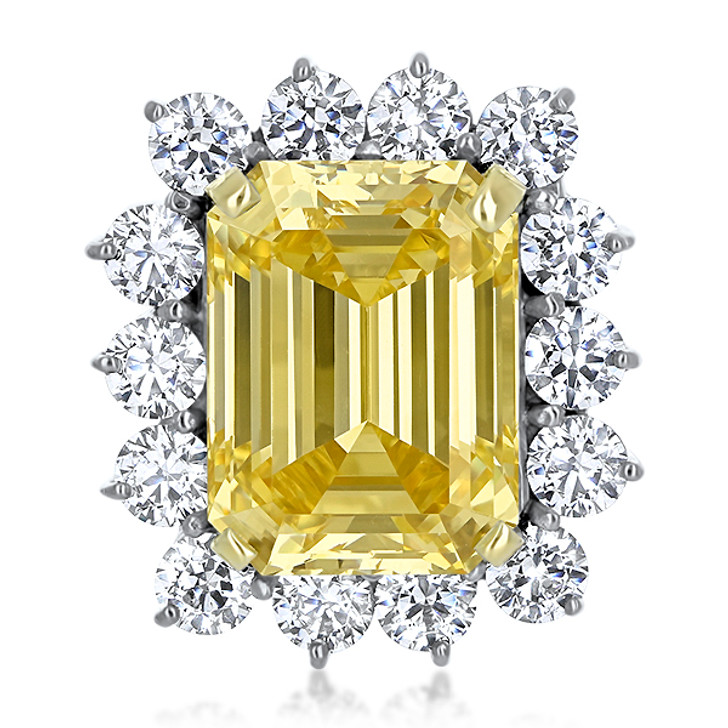 Beverly CZ Halo Emerald Cut with Rounds Cluster Ring