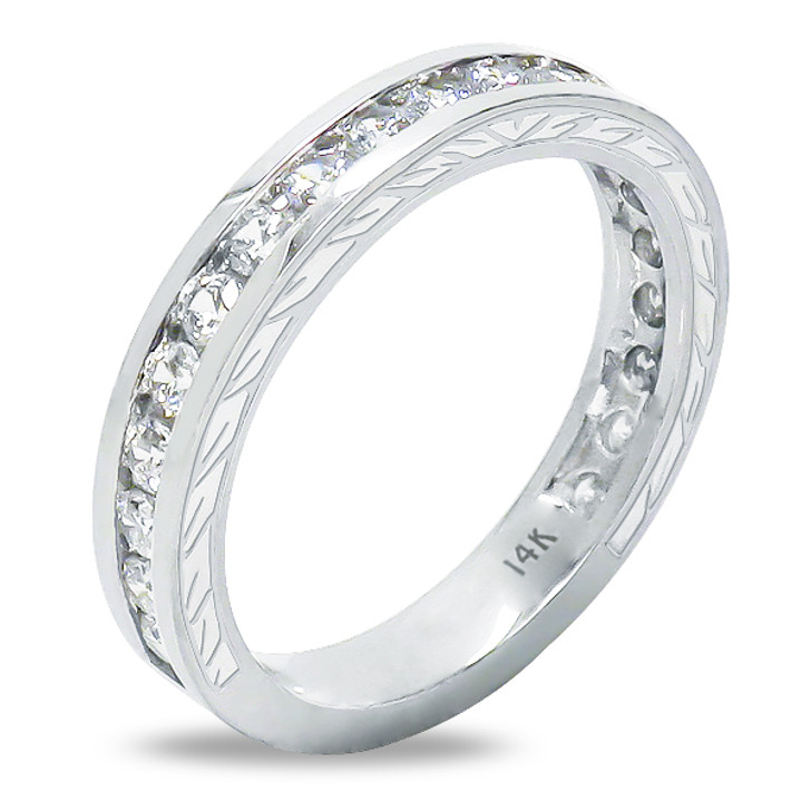 Bobbi Cubic Zirconia Channel Look Rounds Engraved Wedding Band