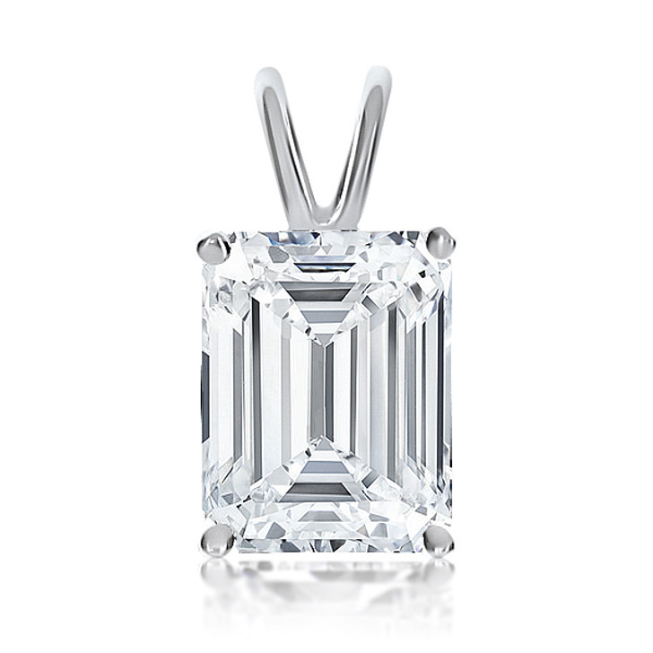 Classic or Step Emerald Cut CZ Solitaire Pendant