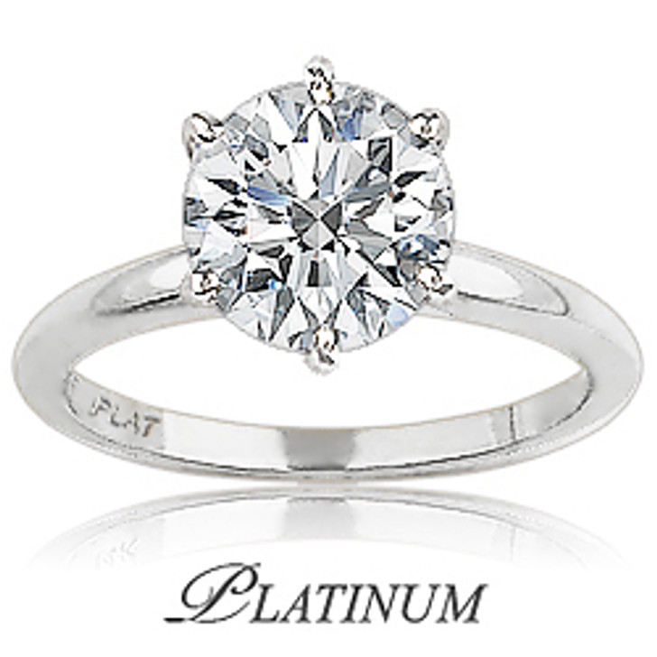 Platinum CZ Round Classic Solitaire Engagement Ring