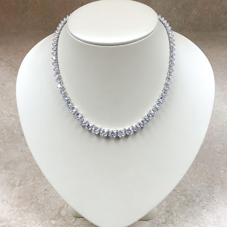 Graduated Round CZ Tennis Necklace 16-inches, 35.0 Ct TW