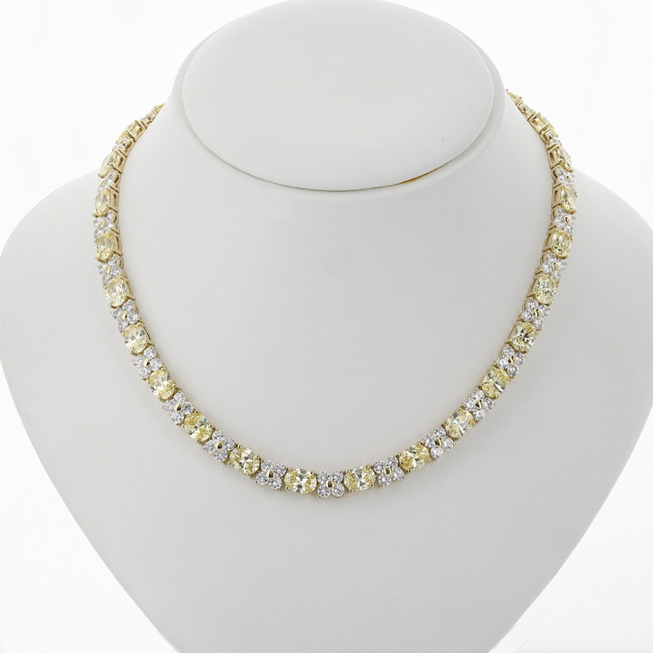 Pamela Oval with Rounds Cubic Zirconia Necklace, 39.0 Ct TW