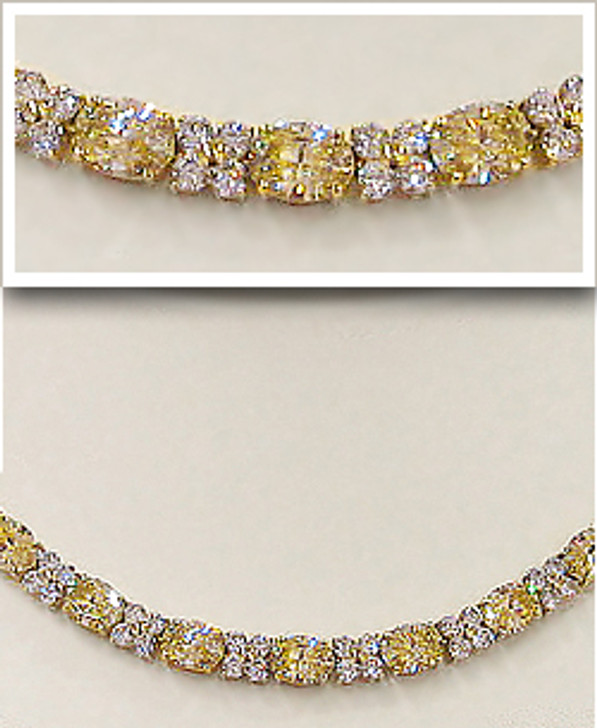 Pamela Oval with Rounds Cubic Zirconia Necklace, 49.5 Ct TW