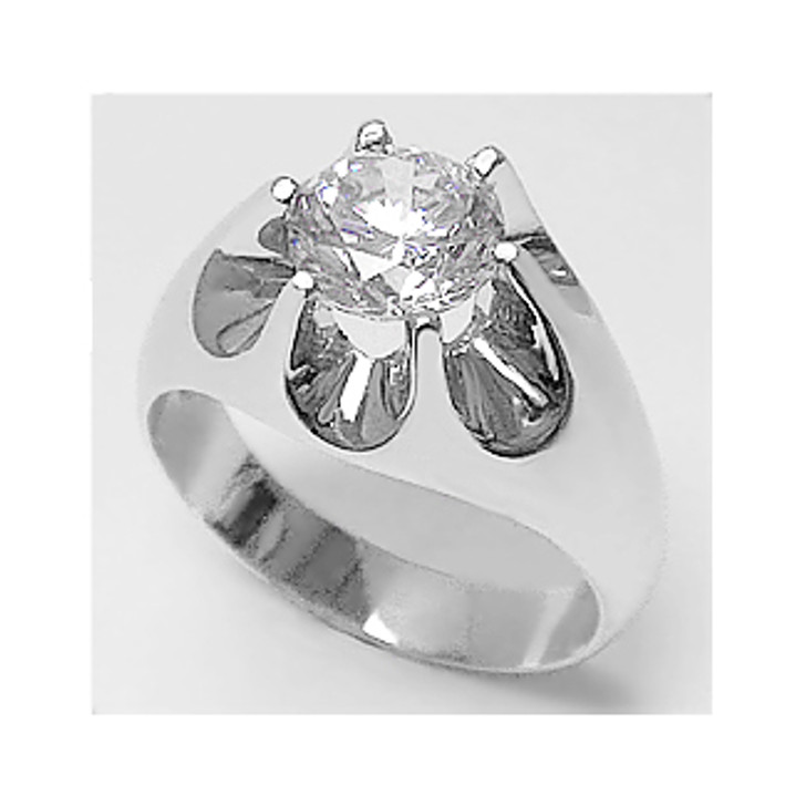 1.5 Ct Round CZ Classic Claw Men's Ring in 14K White Gold