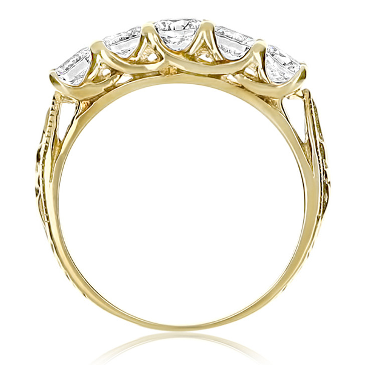 Natalie Rounds with Crossed Prongs 5 Stone CZ Wedding Band