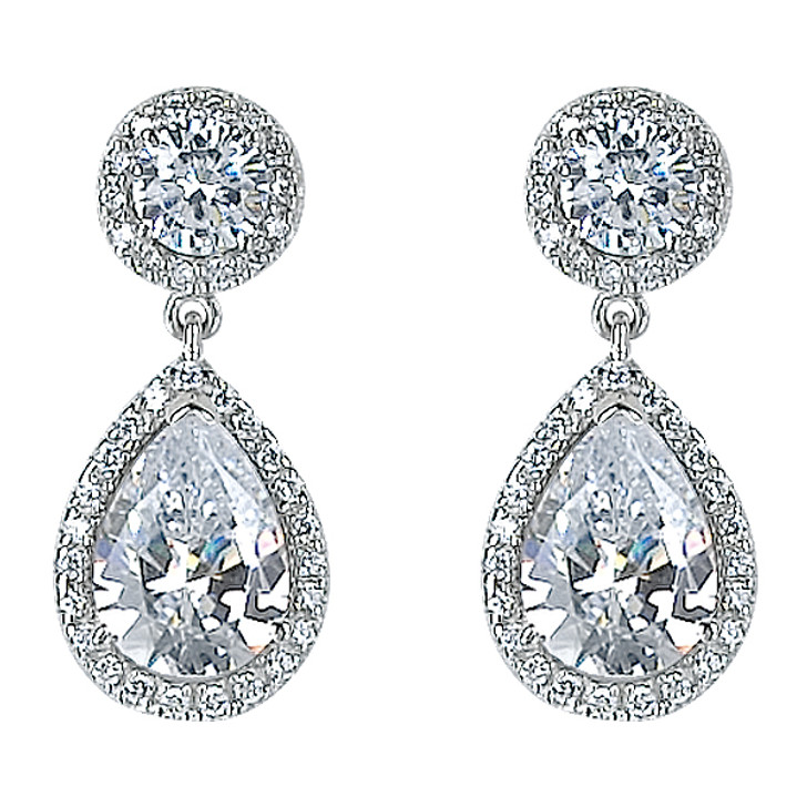 Skye Halo Pear Cubic Zirconia Drop Earrings