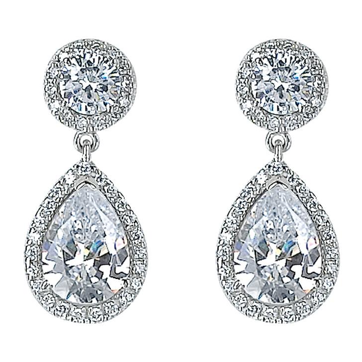 Skye Halo Pear Cubic Zirconia Drop Earrings