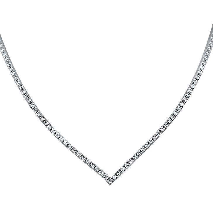 """Vivienne Pointed """"V"""" Cubic Zirconia Tennis Necklace, 5.0 Ct TW"""