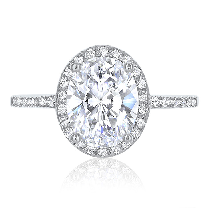 Brianna Oval with Cubic Zirconia Halo Pave Solitaire Ring
