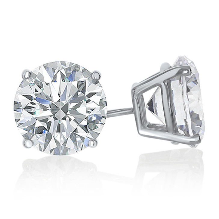 Basket Set Round Cubic Zirconia Stud Earrings