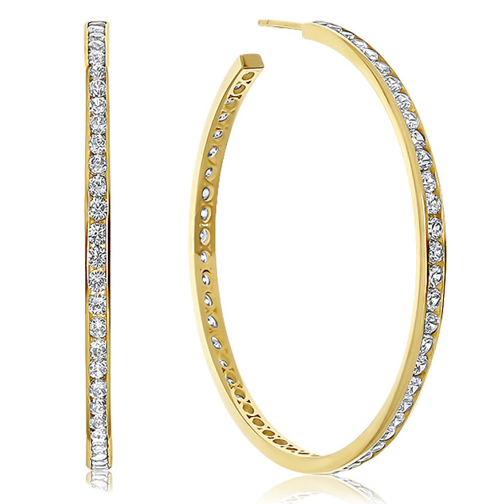 Bradie Channel Set CZ Rounds Hoop Earrings, 6.5 Carats Total