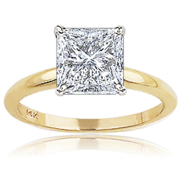 Princess Cut Square CZ Classic Solitaire Engagement Ring