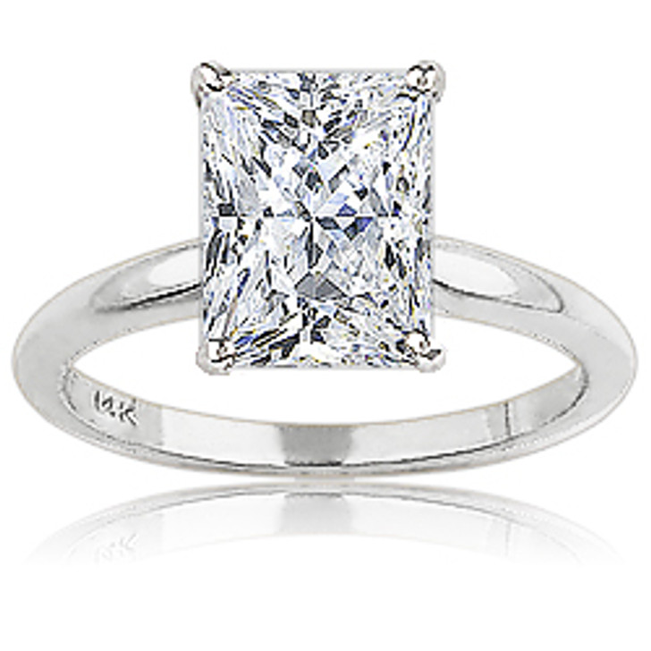 Starburst Emerald Cut Classic Style CZ Solitaire Engagement Ring