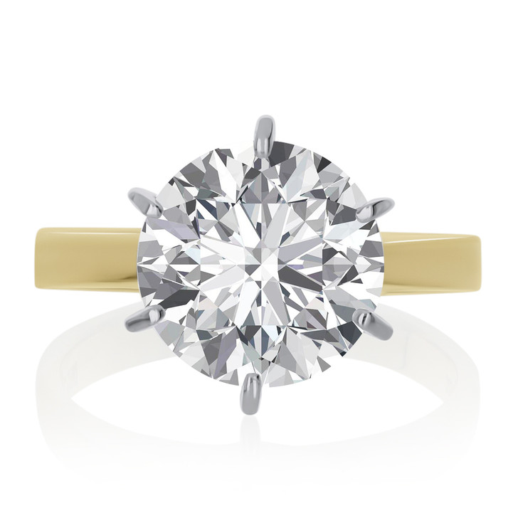 Round Cubic Zirconia Cathedral Solitaire Engagement Ring