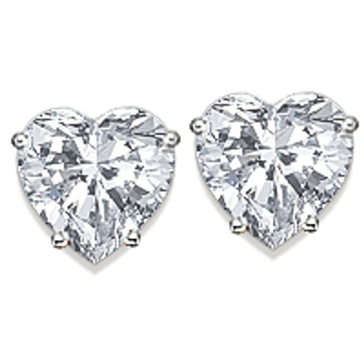 Heart Cut Cubic Zirconia Stud Earrings