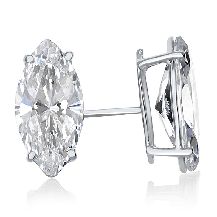 14K White Gold Cubic Zirconia Marquise Stud Earrings