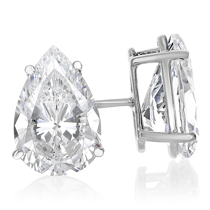 14K White Gold Cubic Zirconia Pear Stud Earrings