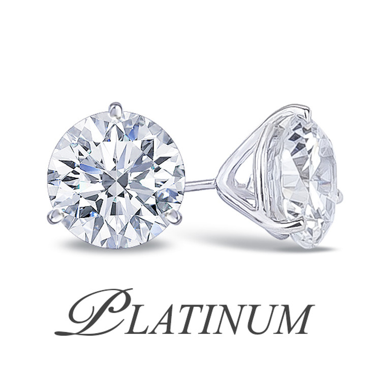 Platinum 3 Prong Round Martini Set Cubic Zirconia Earring Studs