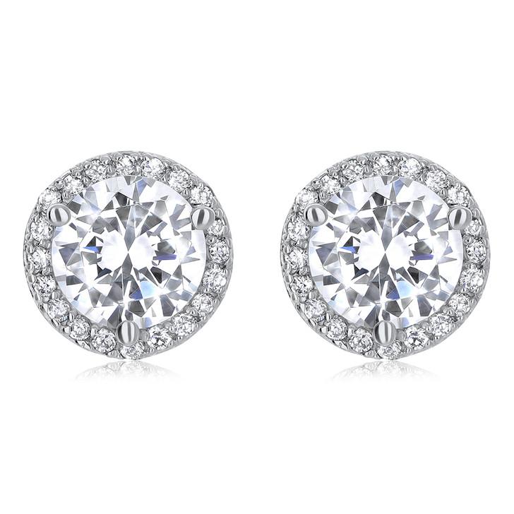 Margarita Halo Round CZ Stud Earrings