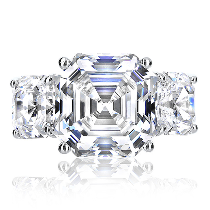 Becky Asscher Cut Three Stone Cubic Zirconia Ring