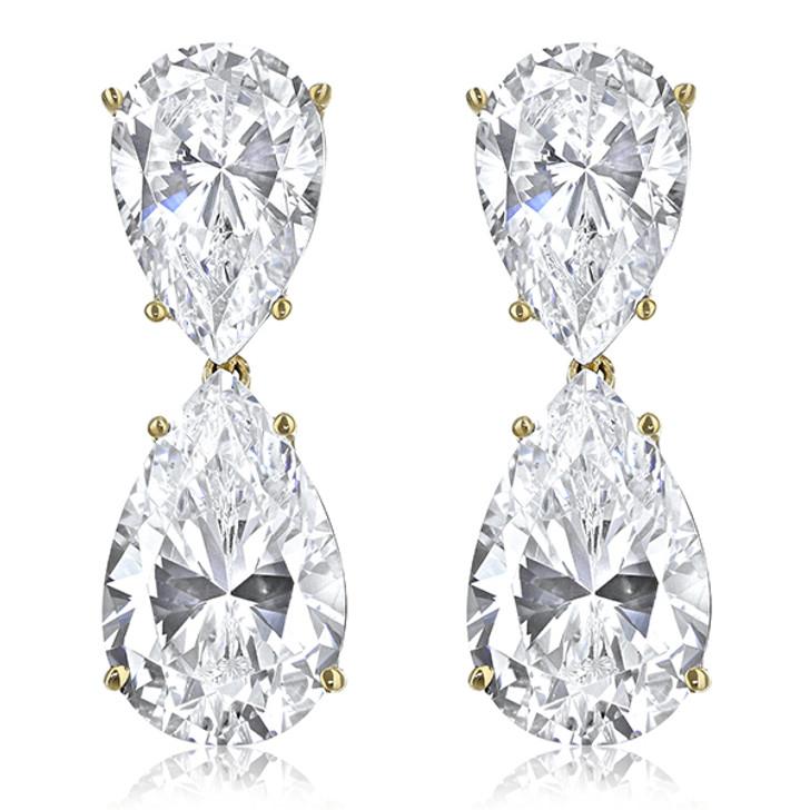 Milena Pear Top with Pear Drop Cubic Zirconia Earrings