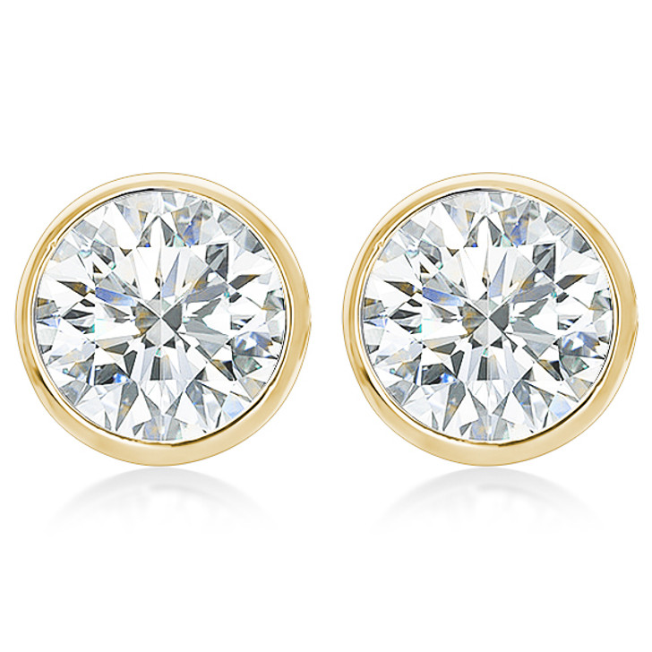 Biscayne Cubic Zirconia Designer Round Wire Bezel Stud Earrings