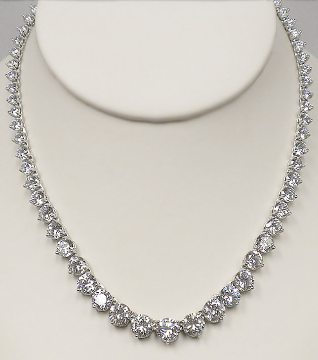 Graduated Round CZ Tennis Necklace 16-inches, 50.5 Ct TW