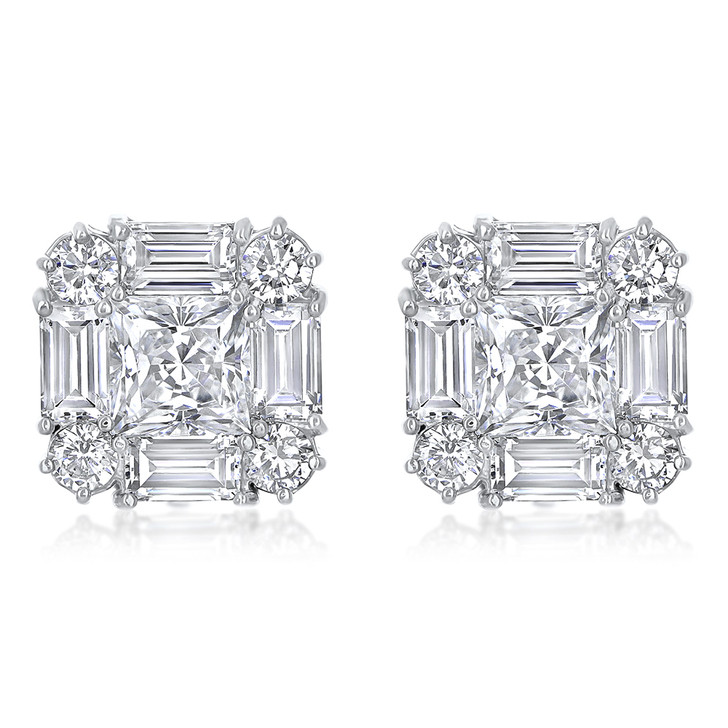 Contessa CZ Princess Cut with Rounds & Baguettes Earring Studs in White Gold
